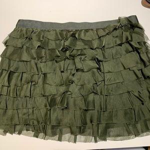 Haute hippie ruffled army green skirt